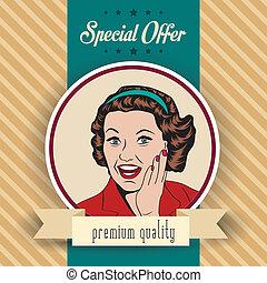 szczęśliwa kobieta, handlowy, retro, clipart, ilustracja