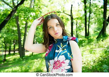 szczęśliwa kobieta, młody, outdoors
