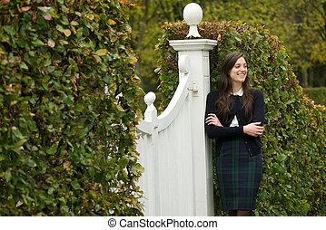 szczęśliwa kobieta, reputacja, outdoors, w parku