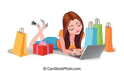 szczęśliwa kobieta, shopping online, .internet, zakupy