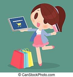 szczęśliwa kobieta, shopping online