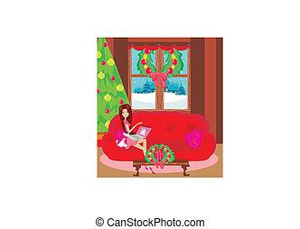 szczęśliwa kobieta, shopping online, .