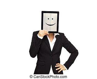 szczęśliwa kobieta, tabliczka, handlowy, cyfrowy