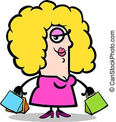 szczęśliwa kobieta, z, shopping torby, rysunek