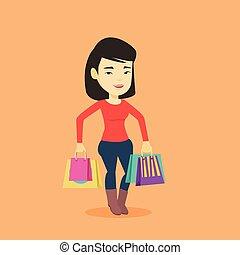szczęśliwa kobieta, z, shopping torby, wektor, ilustracja