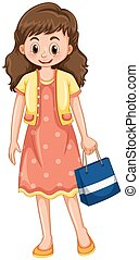 szczęśliwa kobieta, z, torba na zakupy