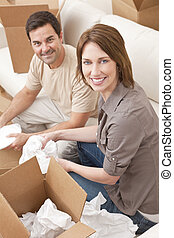 szczęśliwa para, rozpakować się, albo, uszczelka, kabiny, przeniesienie dom
