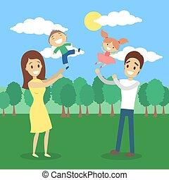 szczęśliwa rodzina, natura