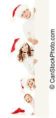szczęśliwa rodzina, w, boże narodzenie, santa, kapelusze, dzierżawa, cielna, chorągiew, dla, twój, reklama, odizolowany, na białym