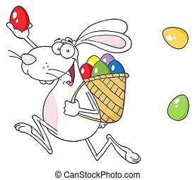 szczęśliwa wielkanoc, królik, biały