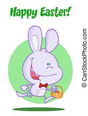 szczęśliwa wielkanoc, purpurowy, królik