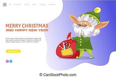 szczęśliwe boże narodzenie, wesoły, rok, website, nowy, elf