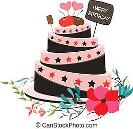 szczęśliwe urodziny, florals, cupcake