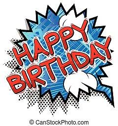 szczęśliwe urodziny, -, komik książka, styl, word.
