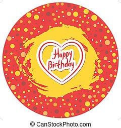 szczęśliwe urodziny, kropka polki, okrągły, ułożyć, z, grunge, plamiony, czerwone tło, z, heart., wektor