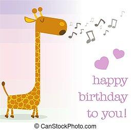 szczęśliwe urodziny, powitanie karta, z, śpiew, żyrafa