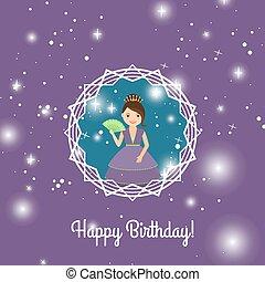 szczęśliwe urodziny, rysunek, karta, księżna