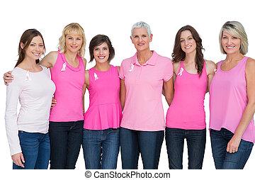 szczęśliwi kobiety, chodząc, różowy, dla, spostrzeżenie raka piersi