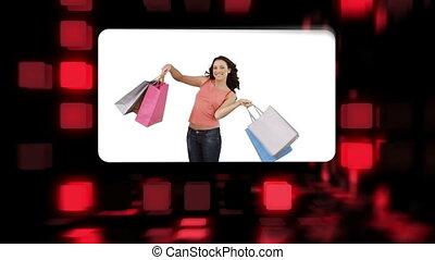 szczęśliwi kobiety, dzierżawa, ich, zakupy