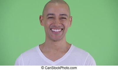 szczęśliwy, łysy, twarz, uśmiechanie się, przystojny, człowiek