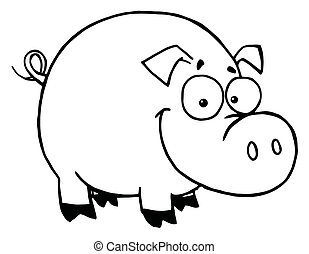 szczęśliwy, świnia, uśmiechanie się, szkic