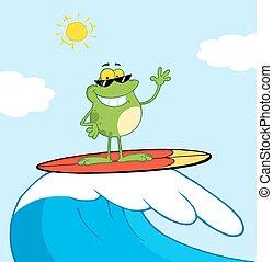 szczęśliwy, żaba, znowu, surfing, w, morze
