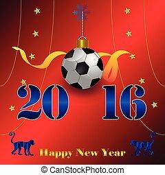 szczęśliwy, 2016, piłka nożna, czerwony, rok, ozdoba, nowy, backgroundl, 204.