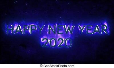szczęśliwy, 2020, błękitne tło, płomienie, rok, nowy