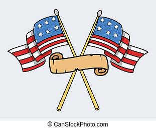 szczęśliwy, 4 lipca, -, usa, bandery