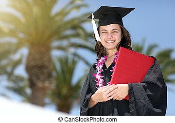 szczęśliwy, absolwent, kobieta