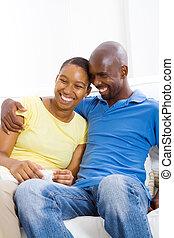 szczęśliwy, afrykanin amerykańska para