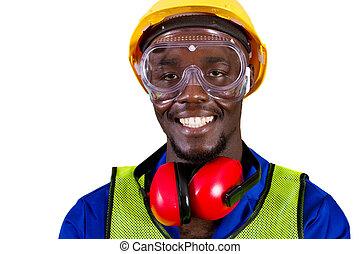 szczęśliwy, afrykanin, przemysłowy pracownik