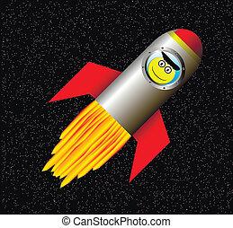 szczęśliwy, astronauta, rakieta, przestrzeń