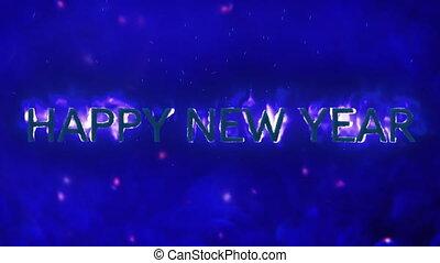szczęśliwy, błękitne tło, płomienie, rok, nowy