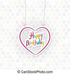 szczęśliwy, birthday., różowy, serce, na, kropka polki, tło., wektor