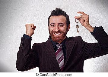 szczęśliwy, biznesmen, dzierżawa, niejaki, domowy klucz