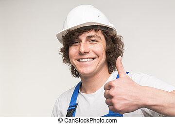 szczęśliwy, budowniczy, człowiek, śmiech, i, zrobienie, kciuki do góry, na aparacie fotograficzny