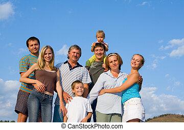 szczęśliwy, cielna, rodzina