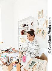 szczęśliwy, dama, fason, ilustrator, rysunek