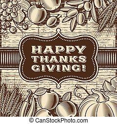 szczęśliwy, dziękczynienie, brązowy, rocznik wina, karta