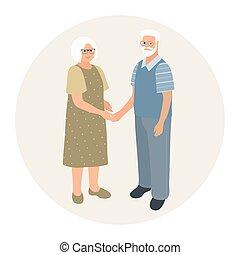 szczęśliwy, dziadkowie, babcia, dzierżawa, wektor, design., ...