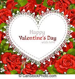 szczęśliwy, dzień, karta, valentine