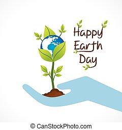 szczęśliwy, dzień, ziemia, projektować