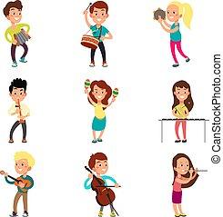 szczęśliwy, dzieci, muzycy, z, muzyczny, instruments., utalentowany, dzieciaki, grająca muzyka, śpiew, i, taniec, rysunek, wektor, litery, komplet