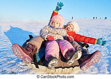 szczęśliwy, dzieci, w, zima