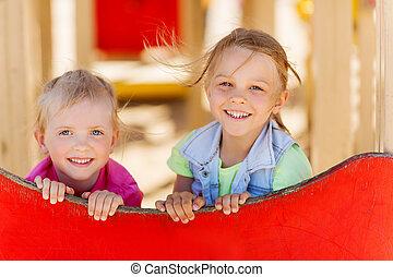 szczęśliwy, dzieciaki, plac gier i zabaw, dzieci