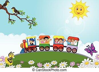 szczęśliwy, dzieciaki, rysunek, na, niejaki, barwny, tr