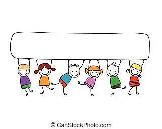 szczęśliwy, dzieciaki, z, chorągwie