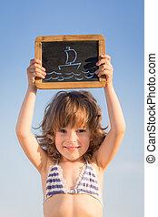szczęśliwy, dziecko, dzierżawa, czysty, tablica