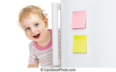 szczęśliwy, dziecko, krycie za, lodówka drzwi